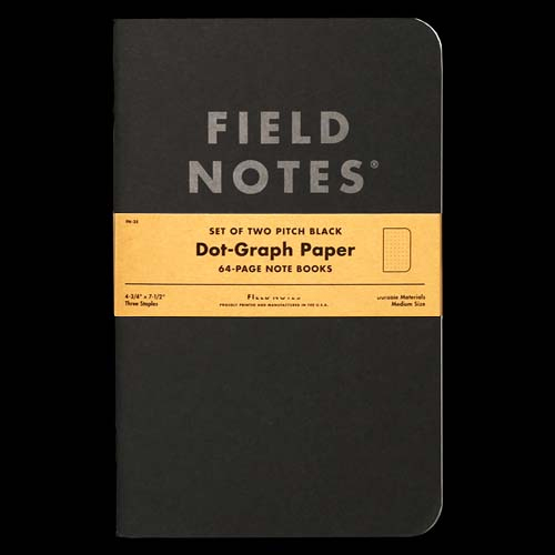 Field Notes Pitch Black - Dot Graph LARGE (Pack of 2)