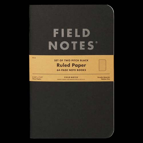 Field Notes Pitch Black - Ruled LARGE (Pack of 2)
